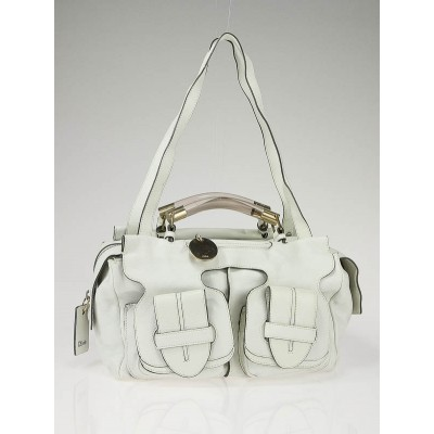 Chloe Blanc Leather Saskia Medium Satchel Bag