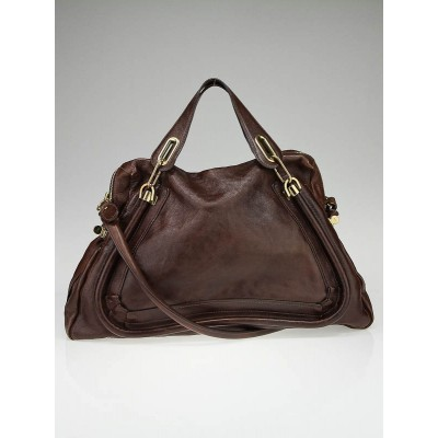 Chloe Chocolate Leather Large Paraty Bag