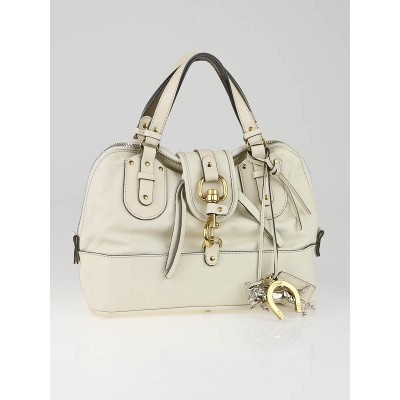 Chloe White Leather Kerala Boston Bag