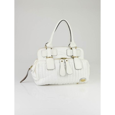 Chloe White Quilted Leather Bay Bag
