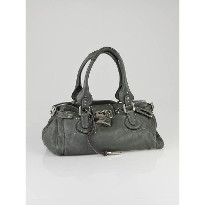 Chloe Gris/Vert Leather Paddington Medium Satchel Bag
