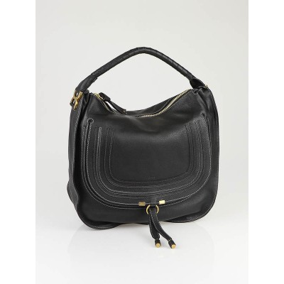 Chloe Black Leather Marcie Horseshoe Large Hobo Bag