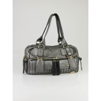 Chloe Argent Metallic Quilted Leather Large Bay Satchel Bag