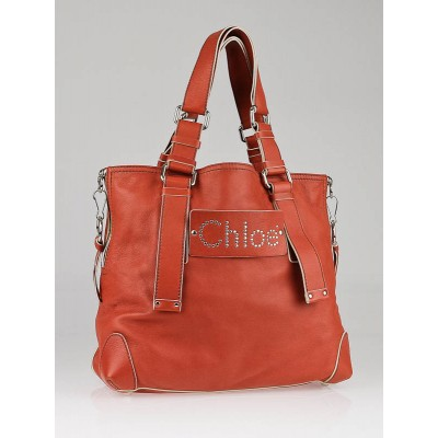 Chloe Orange Leather Studded Patsy Tote Bag