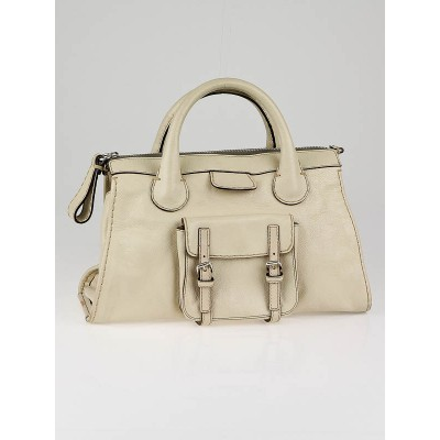Chloe Ivory Leather Edith Satchel Bag