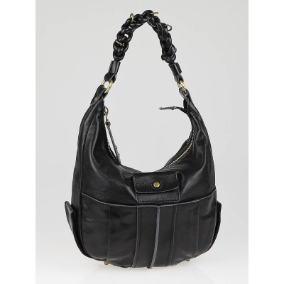 Chloe Black Lambskin Leather Heloise Zip Top Hobo Bag