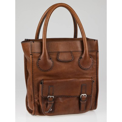 Chloe Brown Leather Edith Large Tote Bag