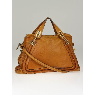 Chloe Tan Calfskin Leather Large Paraty Bag