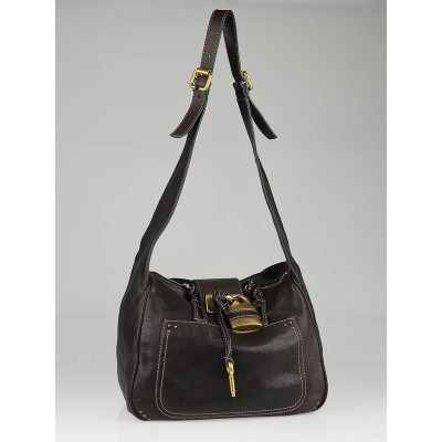 Chloe Dark Brown Leather Paddington Hobo Bag