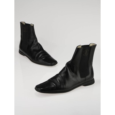 Chanel Black Leather and Elastic Ankle Boots Size 8.5/39
