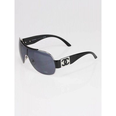Chanel Black Tint Metal Frame Wrap Aviators Sunglasses- 4136