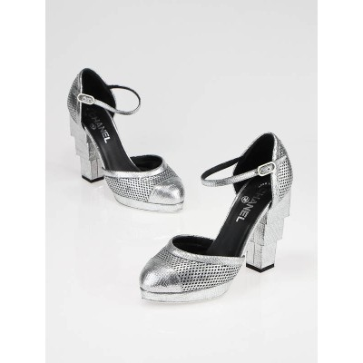 Chanel Silver Platform Mary Jane Heels Size 7/37.5