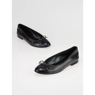 Chanel Dark Grey Leather Cap Toe Ballerina Flats Size 7/37.5