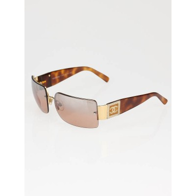 Chanel Tortoise Shell Gold Frame Crystal CC Logo Sunglasses- 4095