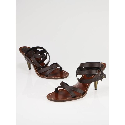 Chanel Dark Brown Leather Ankle Wrap Sandals Size 7/37.5