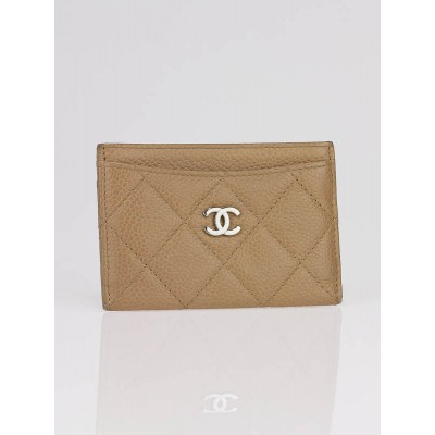 Chanel Beige Quilted Caviar Leather Card Holder