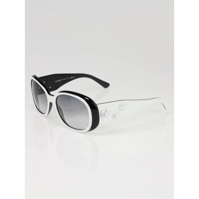 Chanel White/Black Camellia Flower Sunglasses - 5113
