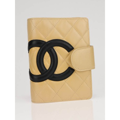 Chanel Beige/Black Quilted Ligne Cambon Agenda/Notebook