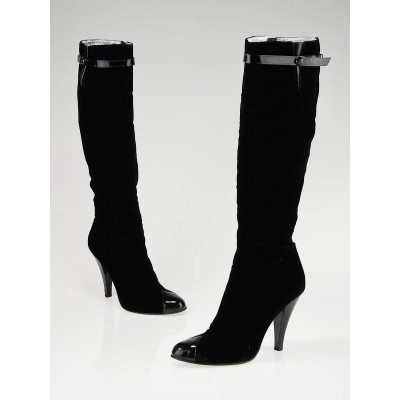 Chanel Black Velvet with Patent Leather Tip Knee-High Boots Size 7/37.5