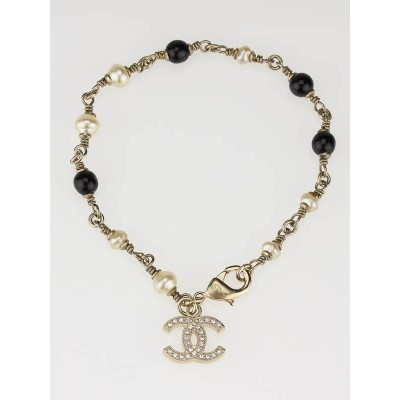 Chanel Black Bead and Pearl CC Logo Bracelet