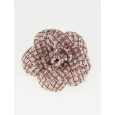 Chanel Pink Tweed Camellia Flower Pin