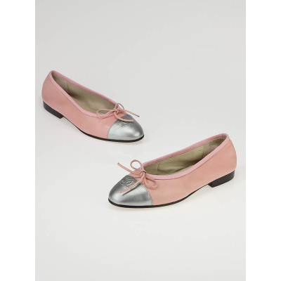 Chanel Pink and Silver Cap Toe CC Logo Ballet Flats Size 5/35.5