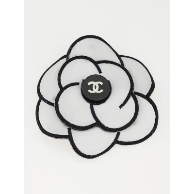 Chanel White/Black Rubber Camellia Flower Pin