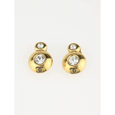 Chanel Goldtone and Clear Crystal CC Logo Clip-On Earrings