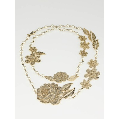 Chanel Gold Camellia Flower and Faux Pearl Long Necklace