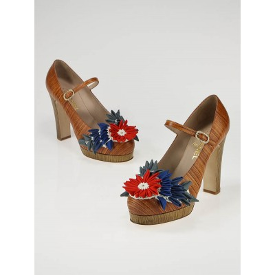 Chanel Wood Leather Flower Mary-Jane Platform Heel Size 8.5/39