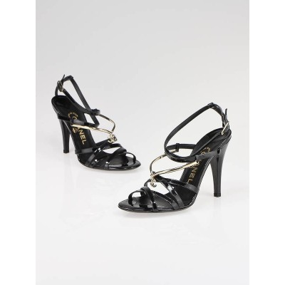 Chanel Black Patent Leather Strappy Sandal Heels Size 6.5/37
