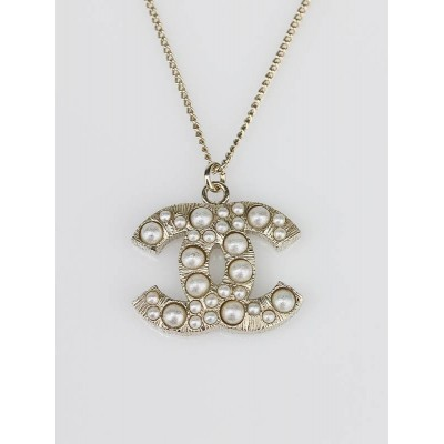 Chanel Pearl Stud CC Logo Pendant Necklace