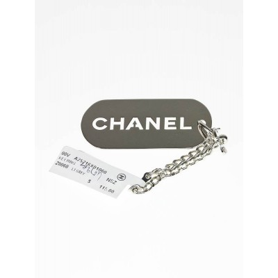 Chanel Silvertone Metal Dog Tag Key Chain and Bag Charm