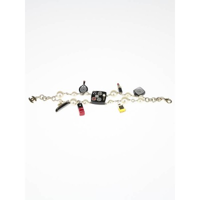 Chanel Double Strand Faux Pearl Beauty Charm Bracelet