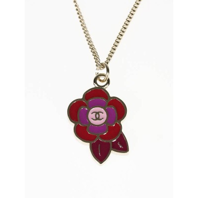 Chanel Pink/Red Camellia Flower CC Pendant Necklace