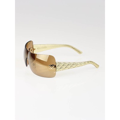 Chanel Gold Lens Gold Leather Quilted Sunglasses 4157