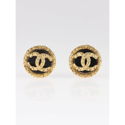 Chanel Black/Gold Round CC Logo Clip-On Earrings