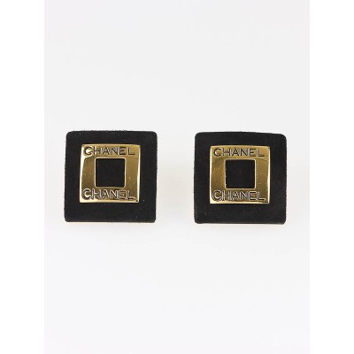 Chanel Black Suede Square Clip-On Earrings