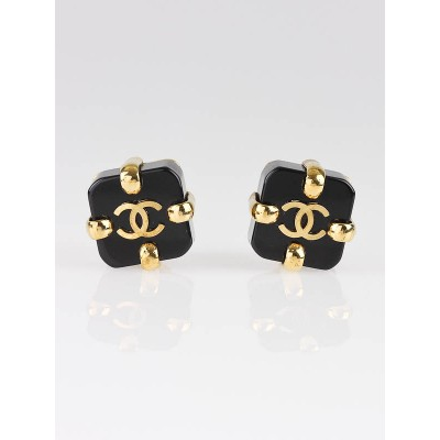 Chanel Black Resin CC Logo Cube Clip-On Earrings