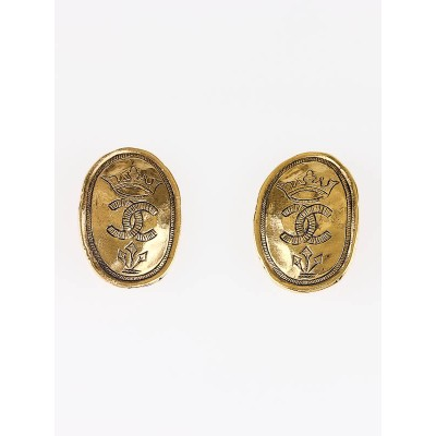 Chanel Goldtone Oval Crown Embossed CC Clip-On Earrings