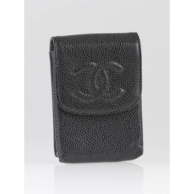 Chanel Black Caviar Leather Cigarette Soft Case