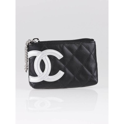 Chanel Black Ligne Cambon Zippy Card Pouch