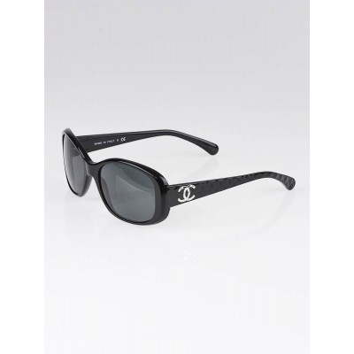 Chanel Black Frame Quilted CC Logo Sunglasses-5189