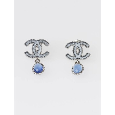 Chanel Silver/Blue CC Logo Drop Earrings