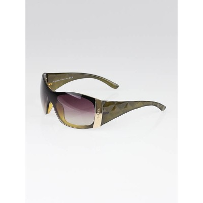 Chanel Olive Green Gradient Tint Quilted Shield Sunglasses - 6009