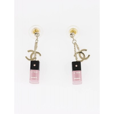 Chanel Pink Resin Nail Vernis and CC Logo Drop Earrings
