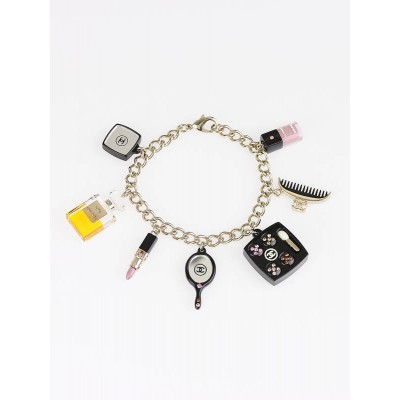 Chanel Black Resin and Crystal Cosmetics Charm Bracelet