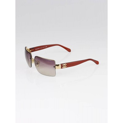 Chanel Gold Metal Frame Brown Tinted Lens CC Logo Sunglasses -4107