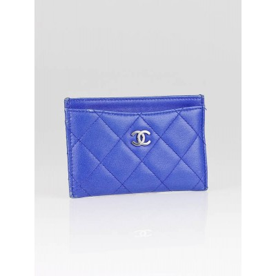 Chanel Dark Blue Quilted Lambskin Leather Card Holder