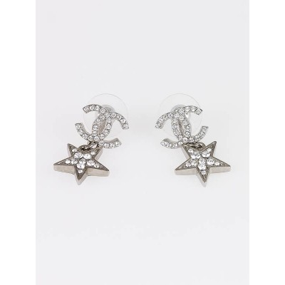 Chanel Crystal CC Logo Star Drop Earrings